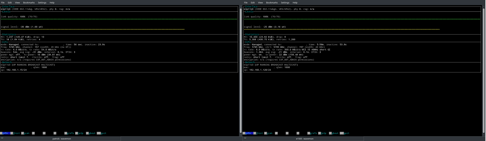 Intel 3945ABG (Left) vs 7260 (Right) - wavemon